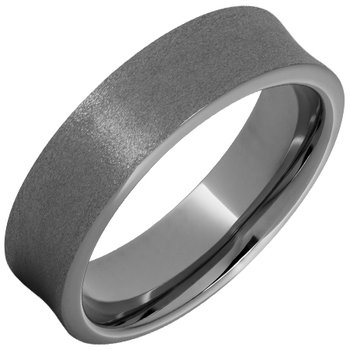 Rugged Tungsten™ Concave Band with Stone Finish