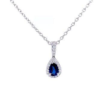 Pear Shaped Sapphire& Diamond Pendant