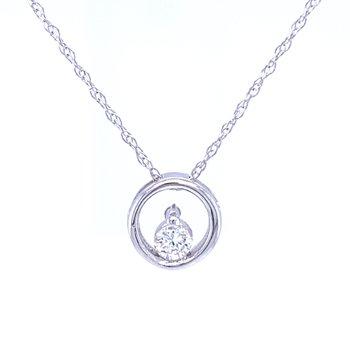 Simple Circle Pendant with Diamond-14kw