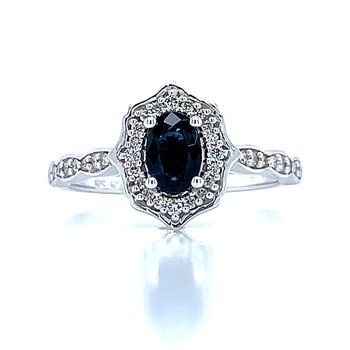 Scalloped Halo Sapphire & Diamond Ring