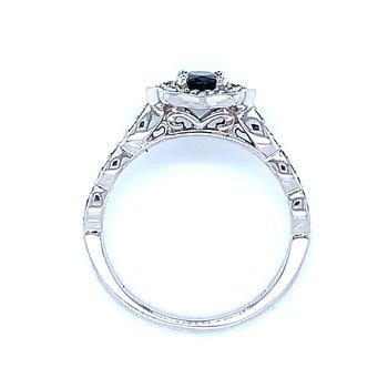 Scalloped Halo Sapphire & Diamond Ring