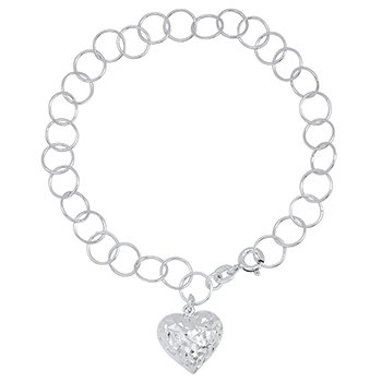 Charm bracelet with puffed heart dangle