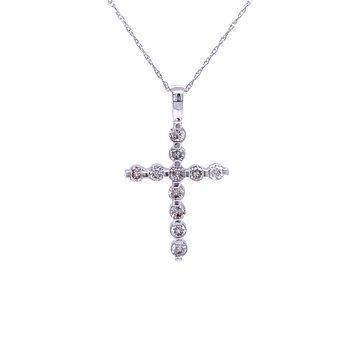 Bar Set Diamond Cross Pendant