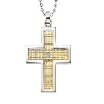 Men's Two-tone Cross Necklace