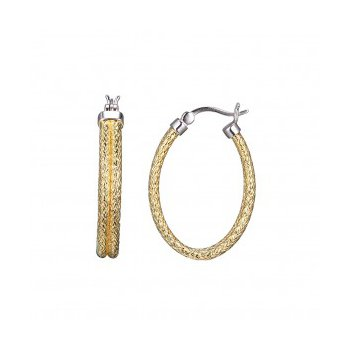 Sterling Silver Double 2mm Mesh Earrings, Oval approximate 30X22mm, 2 Tone, 18K Yellow Gold and Rhodium Finish