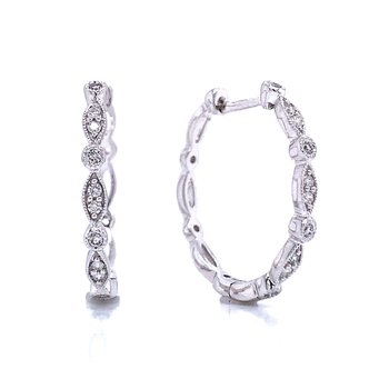 Scalloped Edge Diamond Hoop Earrings