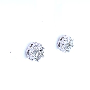 Flower Cluster Earrings 3/4ctw 10kw