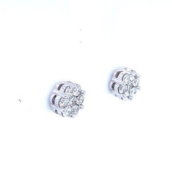 Flower Cluster Earrings 3/4ctw 10kw