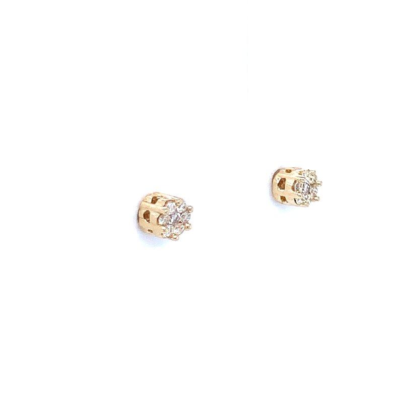 Bryan Beauties Flower Cluster Earrings 1/10ctw 10ky