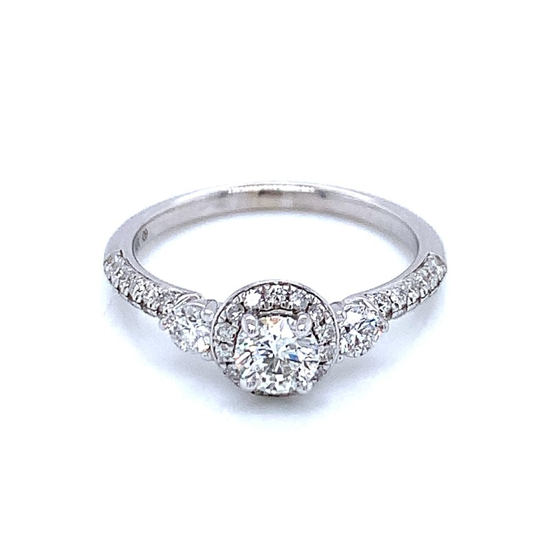 Ostbye Three Stone with Halo center Engagement Ring