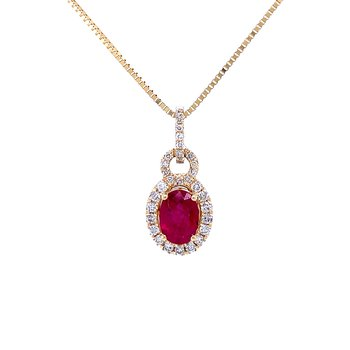 Oval Ruby with Diamond Halo Pendant