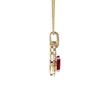 Oval Ruby with Diamond Halo Pendant