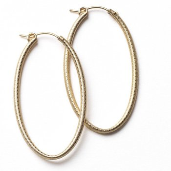 Textured Gold Hoop Earrings - Oval 30mm