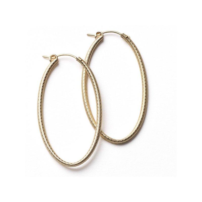 Bryan Beauties Textured Gold Hoop Earrings - Oval 30mm