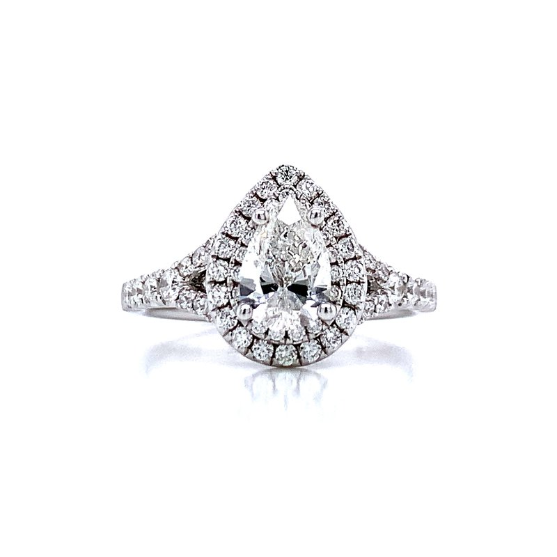 Romance Romance Double Halo Pear Shaped Engagement Ring