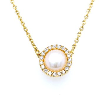 Yellow Vermeil Freshwater Pearl Necklace with CZ Halo