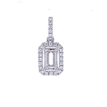 6x4 Emerald cut Semi-mount Pendant