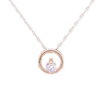 Simple Circle Pendant with Diamond-14ky