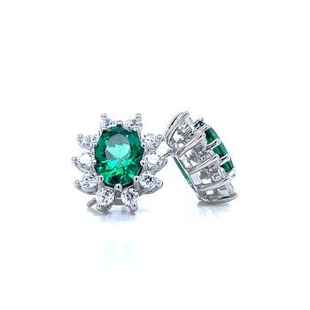 Simulated Emerald & Diamond Earrings