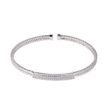 Sterling Silver Double 2mm Mesh Cuff with CZ, Rhodium Finish