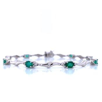 Emerald & Diamond Line Bracelet-14kw