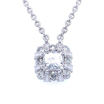 Princess Cut Halo Necklace