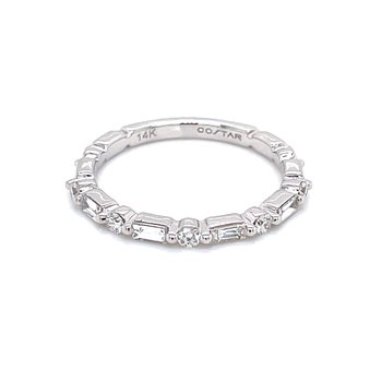 Baguette & Round Diamond Wedding Band