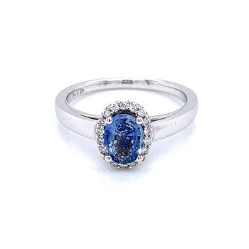 Cornflower Blue Sapphire & Diamond Ring