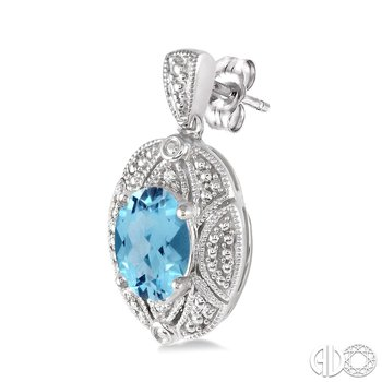 Blue Topaz Drop Earrings with Diamond Accents