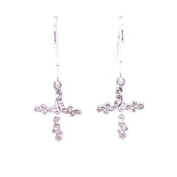 Scroll Cross Earrings