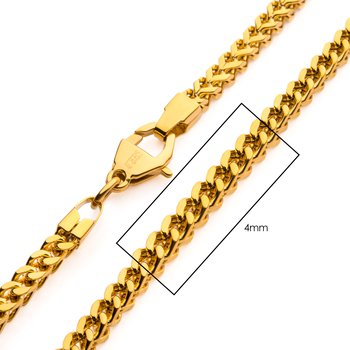 4mm 18K Gold Plated Franco Chain