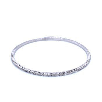 Flexible Diamond Line Bangle Bracelet-14kw
