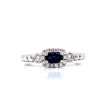 Sideways Oval Sapphire Stackable with Halo
