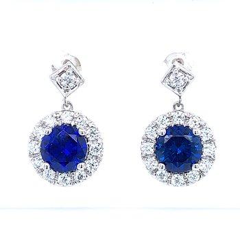 Simulated Sapphire & Diamond Dangles