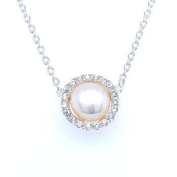 Sterling Silver Freshwater Necklace with CZ Halo