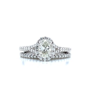Romance Oval Halo Wedding Set
