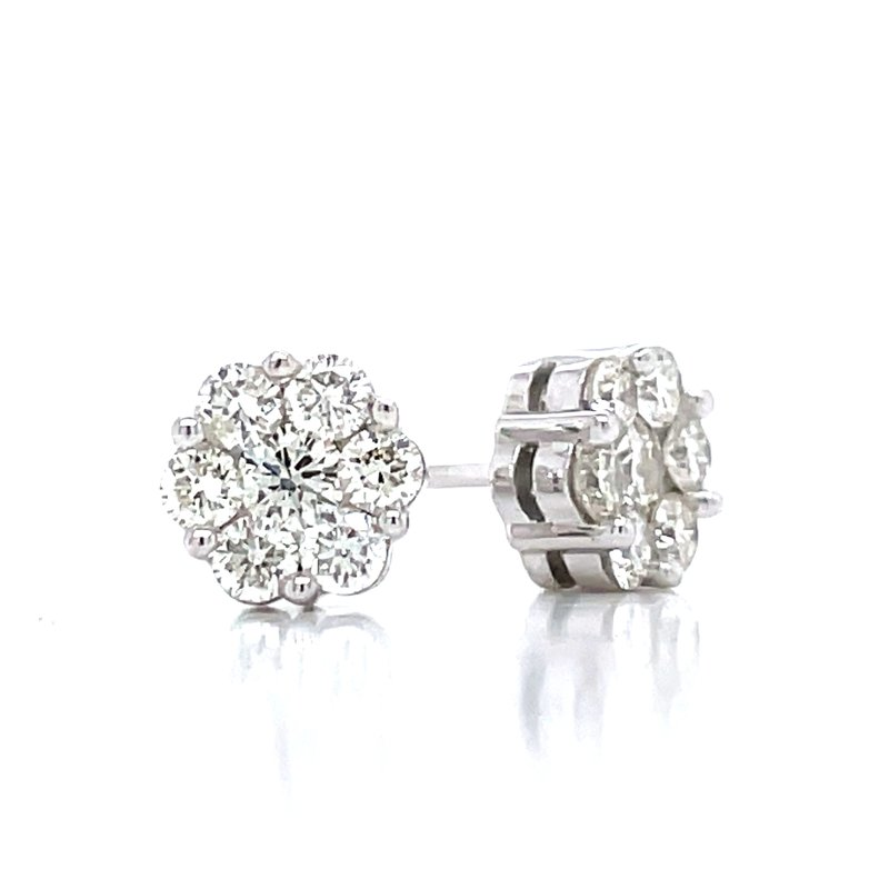 Bryan Beauties Flower Cluster Earrings 5/8ctw 10kw