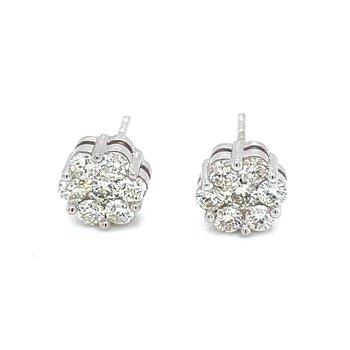 Flower Cluster Earrings 5/8ctw 10kw