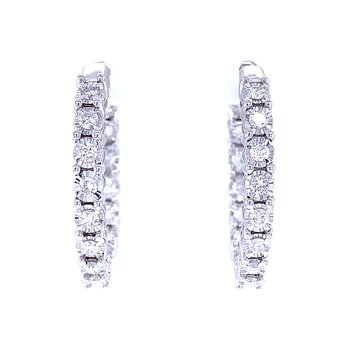 Tru-reflections Diamond Hoops-1ctw