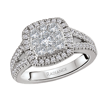 14KW RADIANCE CUSHION SHAPE HALO DIAMOND RING WITH A SPLIT SHANK, DIAMOND WEIGHT 7/8CTW