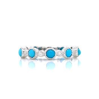 White Gold Turquoise Stackable