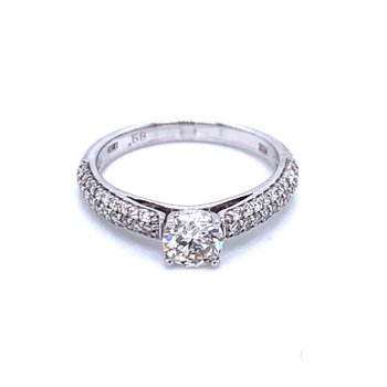 Solitaire with Pave' Diamond Shank