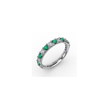 Alternating Emerald & Diamond Band 3/4ctw