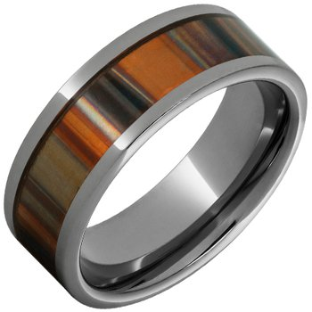 Rugged Tungsten™ Pipe Cut Polished Band with 5mm Orange Patina Copper Inlay