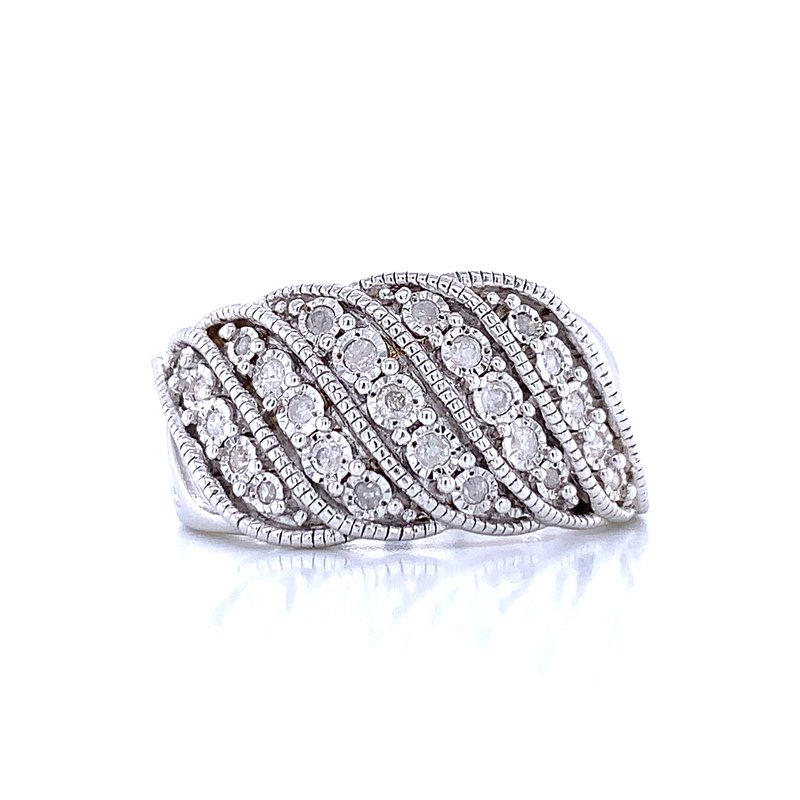 Silver Wide Band Diamond Ring