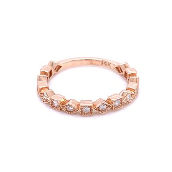 Geometric Shaped Diamond Stackable Band-14k Rose