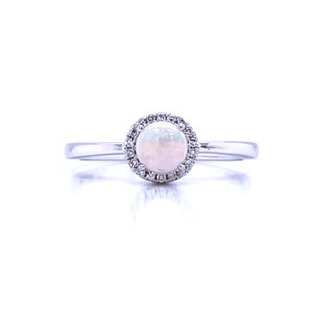 Opal and Diamond Halo Ring