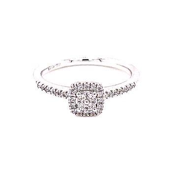 Diamond Halo Ring with Four Diamond Center