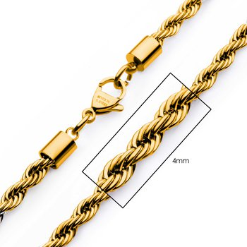 4mm 18K Gold Plated Rope Chain