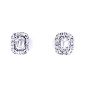 Emerald Cut Halo Diamond Studs